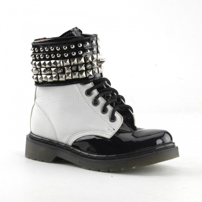 White Rage Womens Combat Boot with Removable Studded Cuff ...