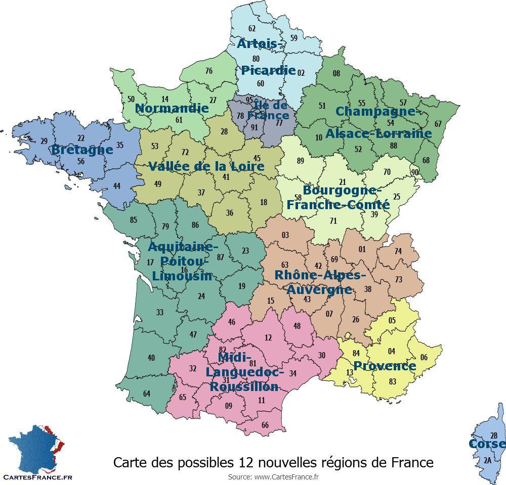 Carte Des 12 Nouvelles Regions En 2017 Carte De France Region Carte Des Regions Les Regions De France