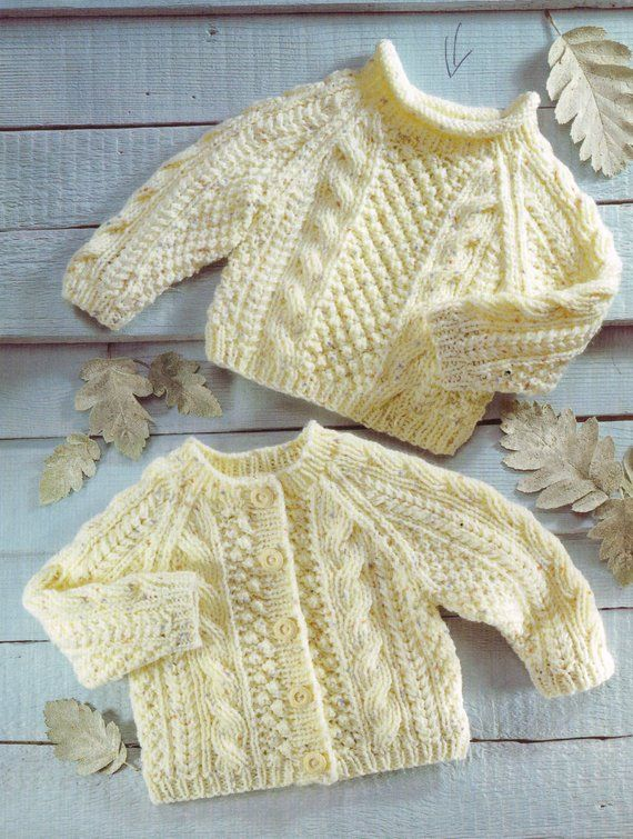 aran style cardigan and jumper vintage baby knitting pattern PDF ...