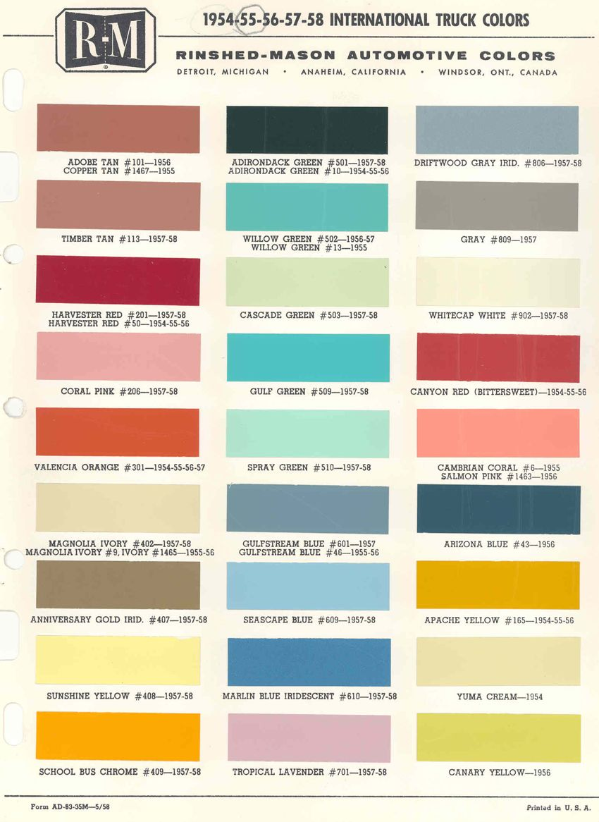 Colour Charts International Truck Trucks Color