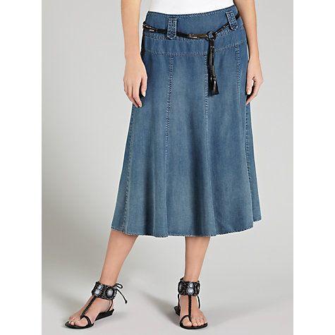 a74487eee9 Gerry Weber Denim Belted Midi Skirt, Denim Blue - £85   Mid-length ...