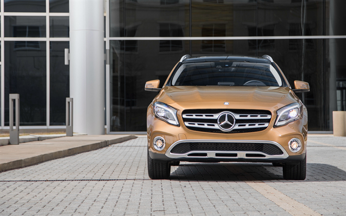 Download Wallpapers Mercedes Benz Gla Class 2018 4matic Gla250 Front View Compact Crossover Exterior New Brown Gla Mercedes Besthqwallpapers Com Mercedes Benz Gla Mercedes Benz Mercedes Benz Classic