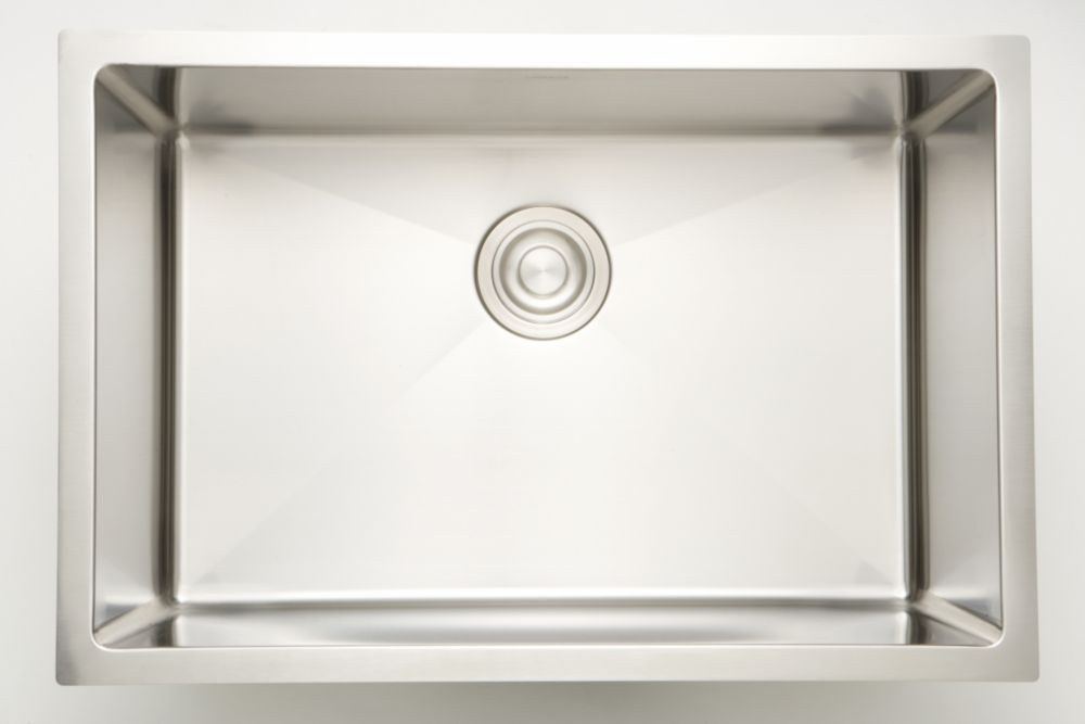 27 Inch W Single Bowl Undermount Kitchen Sink For A Deck Mount