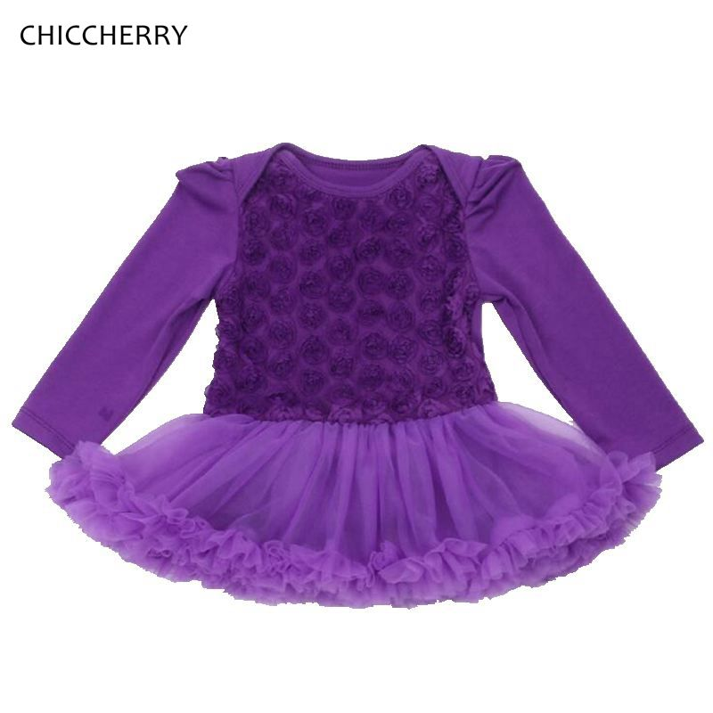6686f015b Click to Buy    3D Rose Lace Petti Romper Purple Baby Girl Dress ...