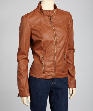 648deaed5 Take a look at this Cognac Faux Leather Jacket by Therapy on #zulily ...