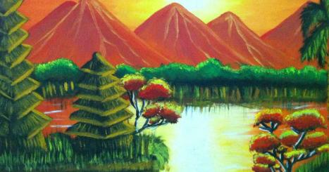 Menakjubkan 30 Kritik Lukisan Pemandangan Gunung Cara