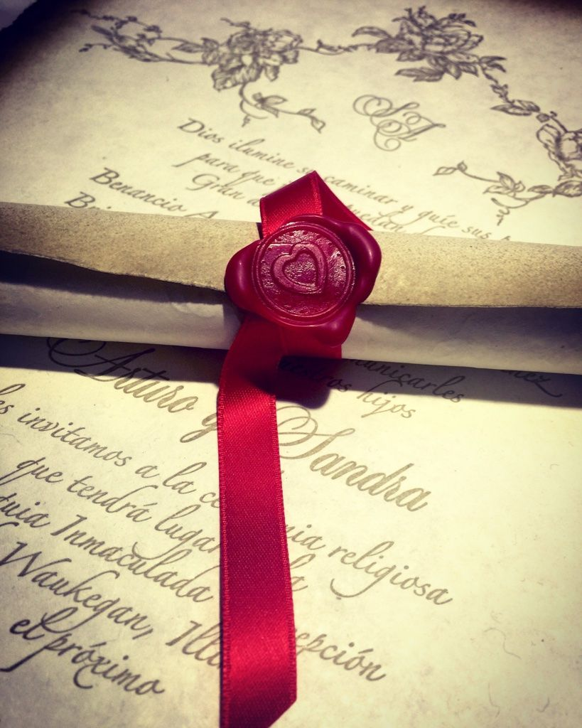 Letterpress scroll wedding invitation with red wax seal, by Lucky ...