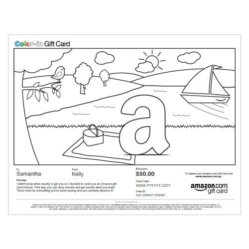 Amazon Gift Card Print Park Picnic Color In 50 00 Gift Card Printing Printed Cards Kids