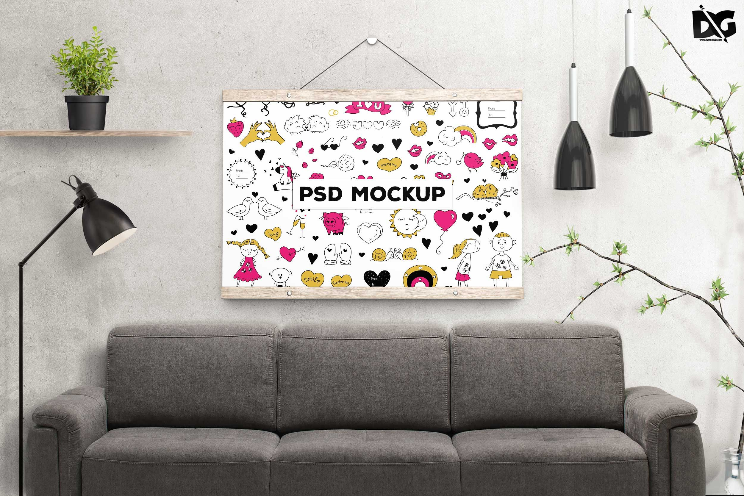 Free Psd Wall Poster Sofa Set Mockup Branding Download