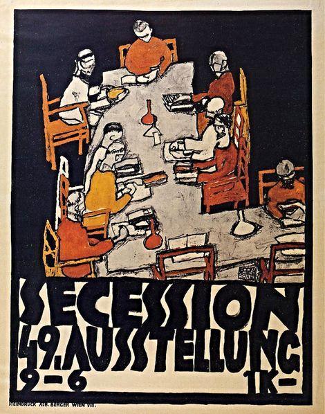 Egon Schiele, Poster for the Vienna Secession, 49th Exhibition, Die Freunde, 1918 on ArtStack #egon-schiele #art