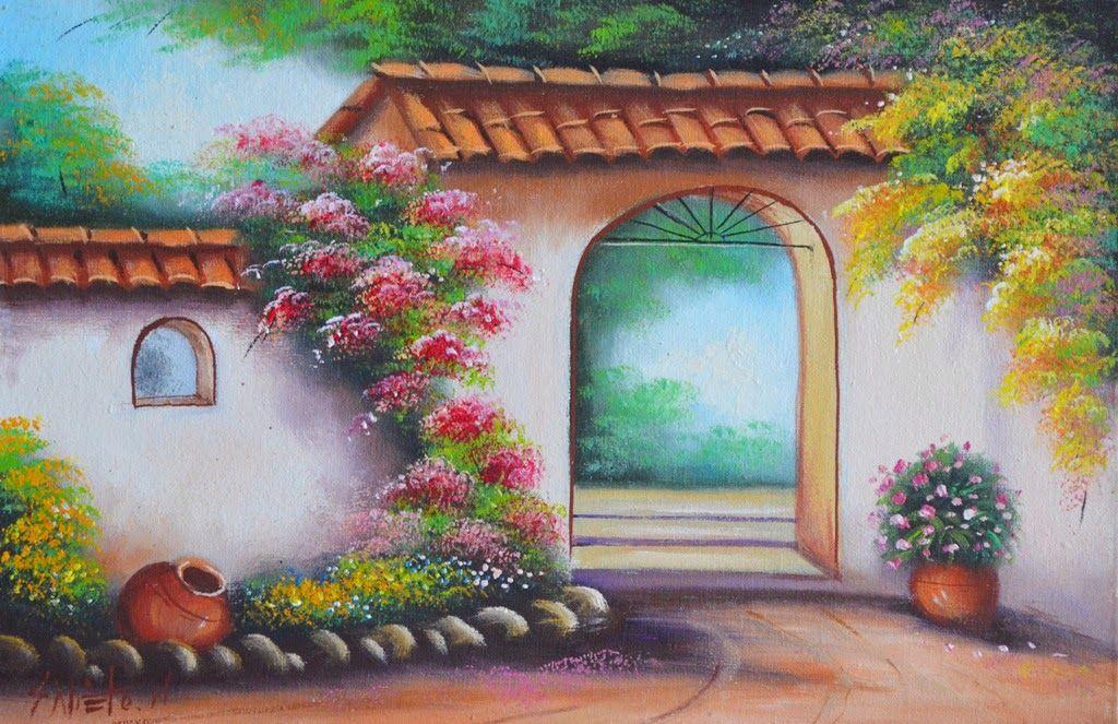 Cuadros de paisajes campesinos con flores balcones y for Cuadros mexicanos rusticos