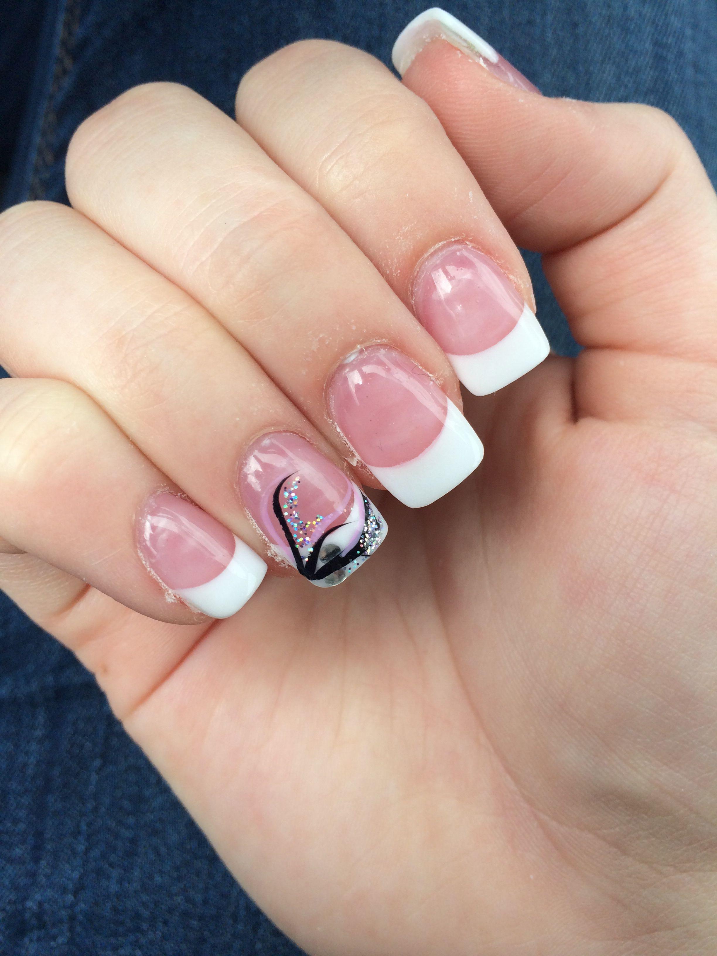white tips with ring finger design. | nails | pinterest | ring