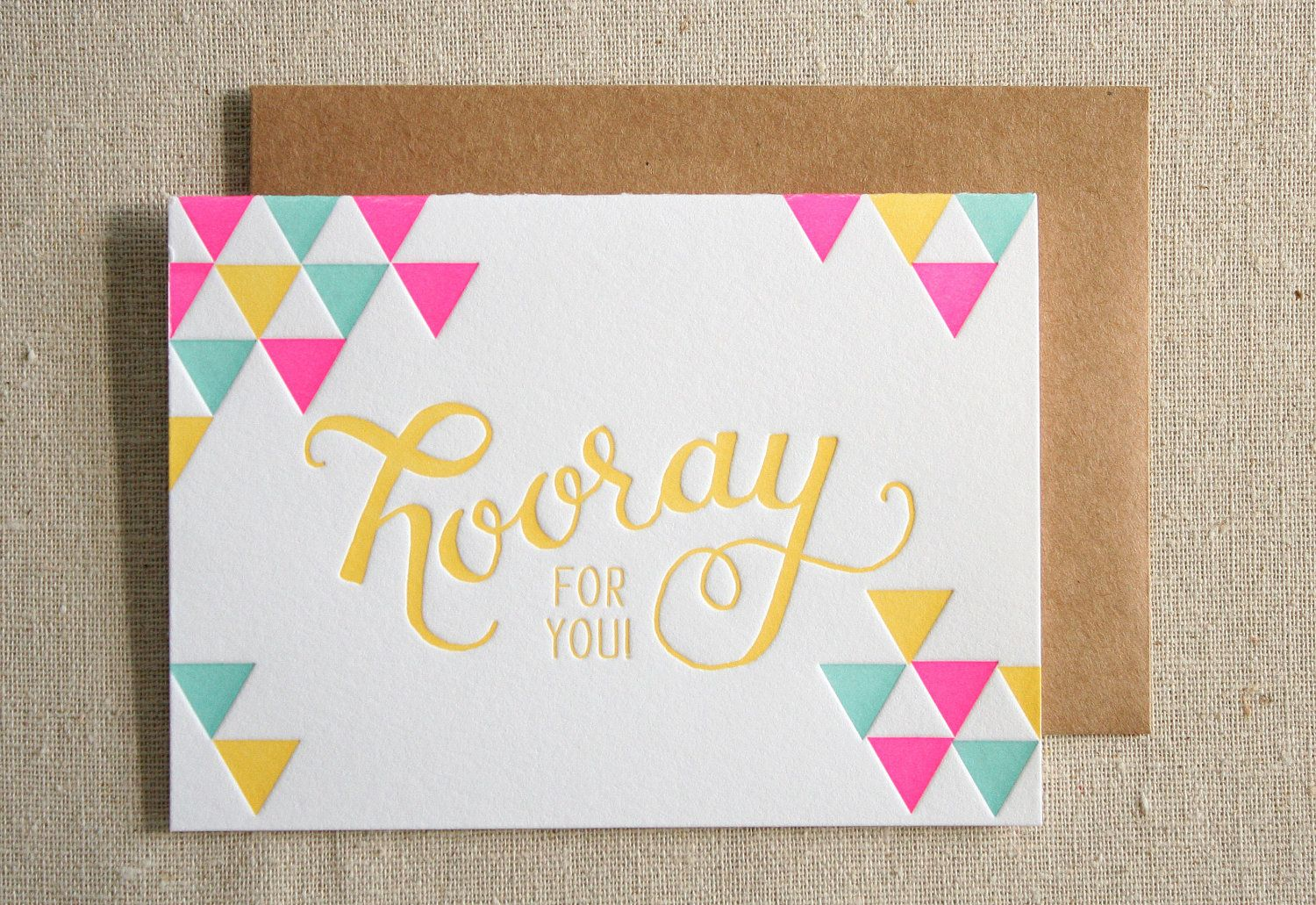 Hooray Letterpress Card. | Stationery | Pinterest | Tarjetas, Letras ...