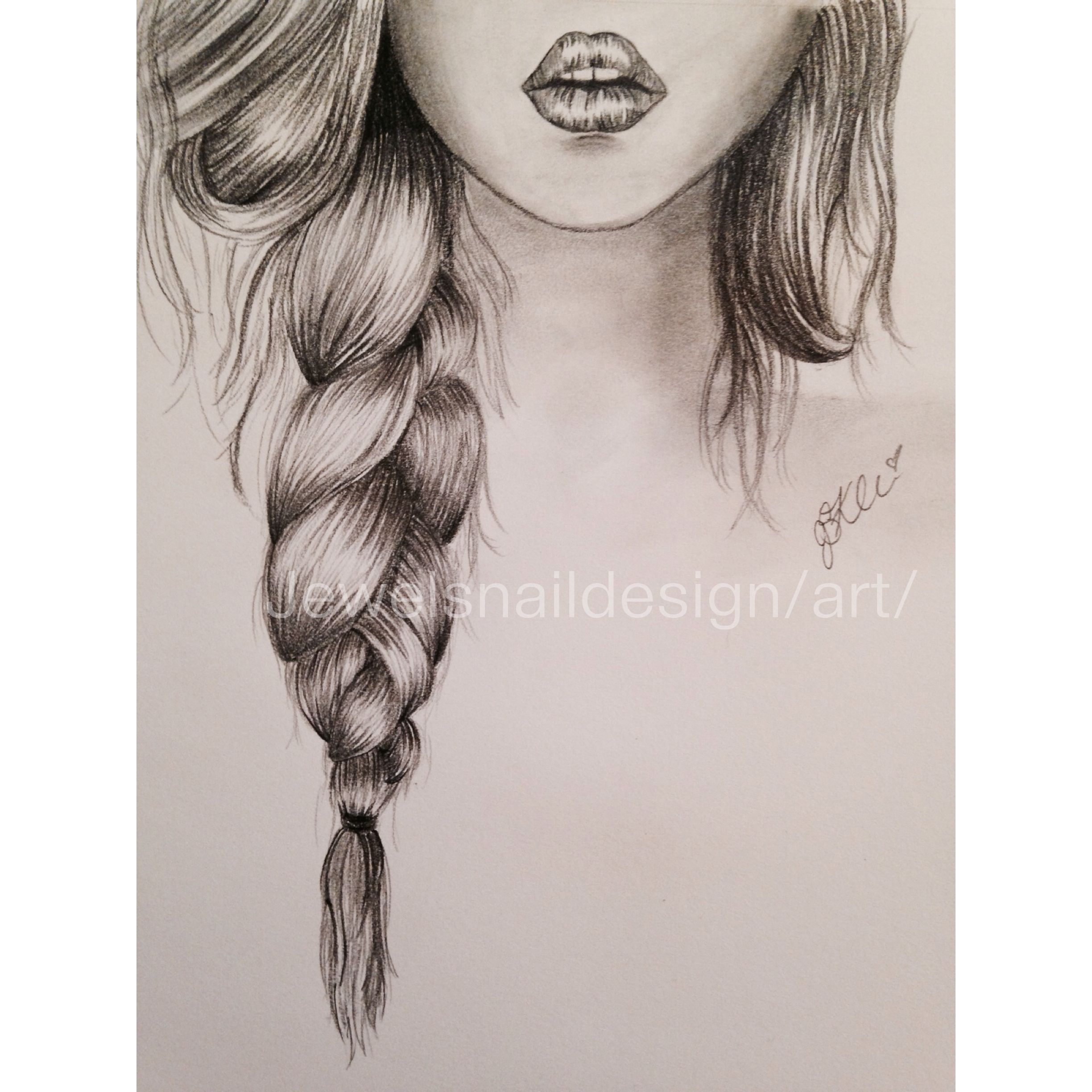 Lips Braid Simple Sketch Girl Hair Drawing Long Hair Drawing How To Draw Braids