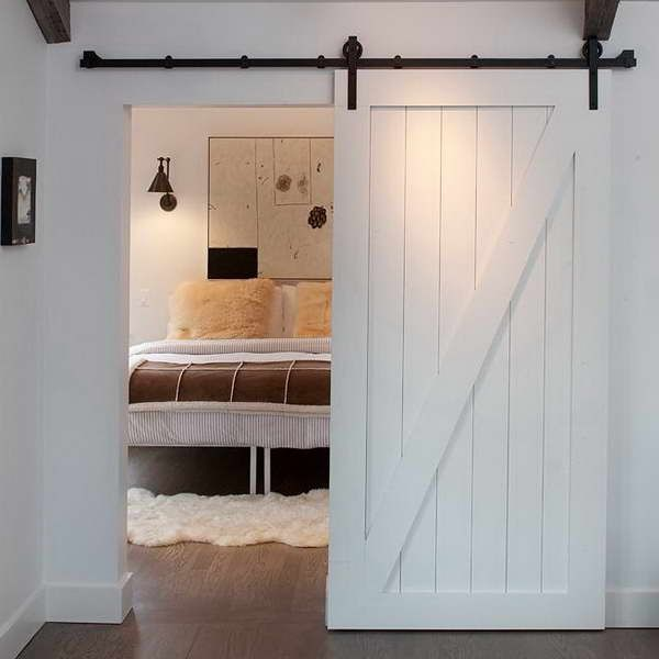 Track Barn Door Hardware With White Carpet & Track Barn Door Hardware With White Carpet | Family Room ...