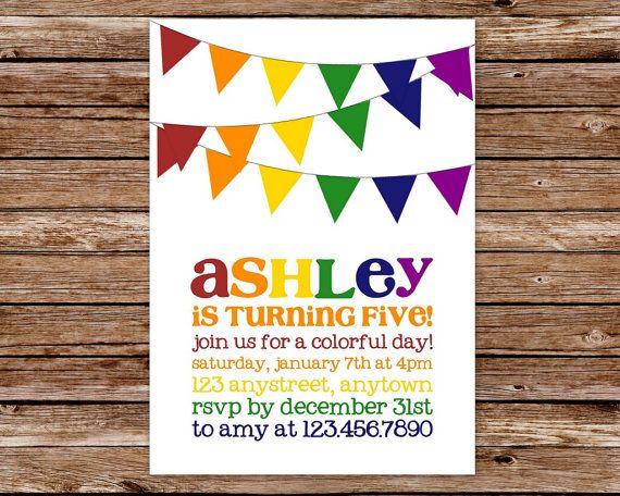 Printable Rainbow Birthday Invitations ~ Rainbow invitation rainbow birthday invitation rainbow party