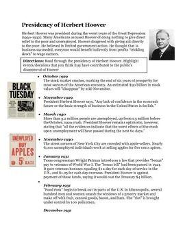 Herbert Hoover Timeline Activity- The Great Depression ...