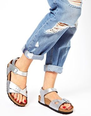 9d782ca9a2e370 Image 3 of Birkenstock Rio 2 Strap Silver Sandals