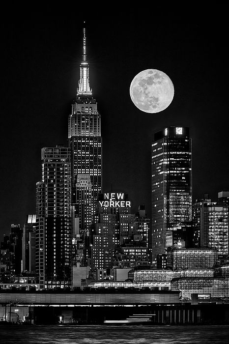 Empire State ESB Super Moon NYC BW by Susan Candel