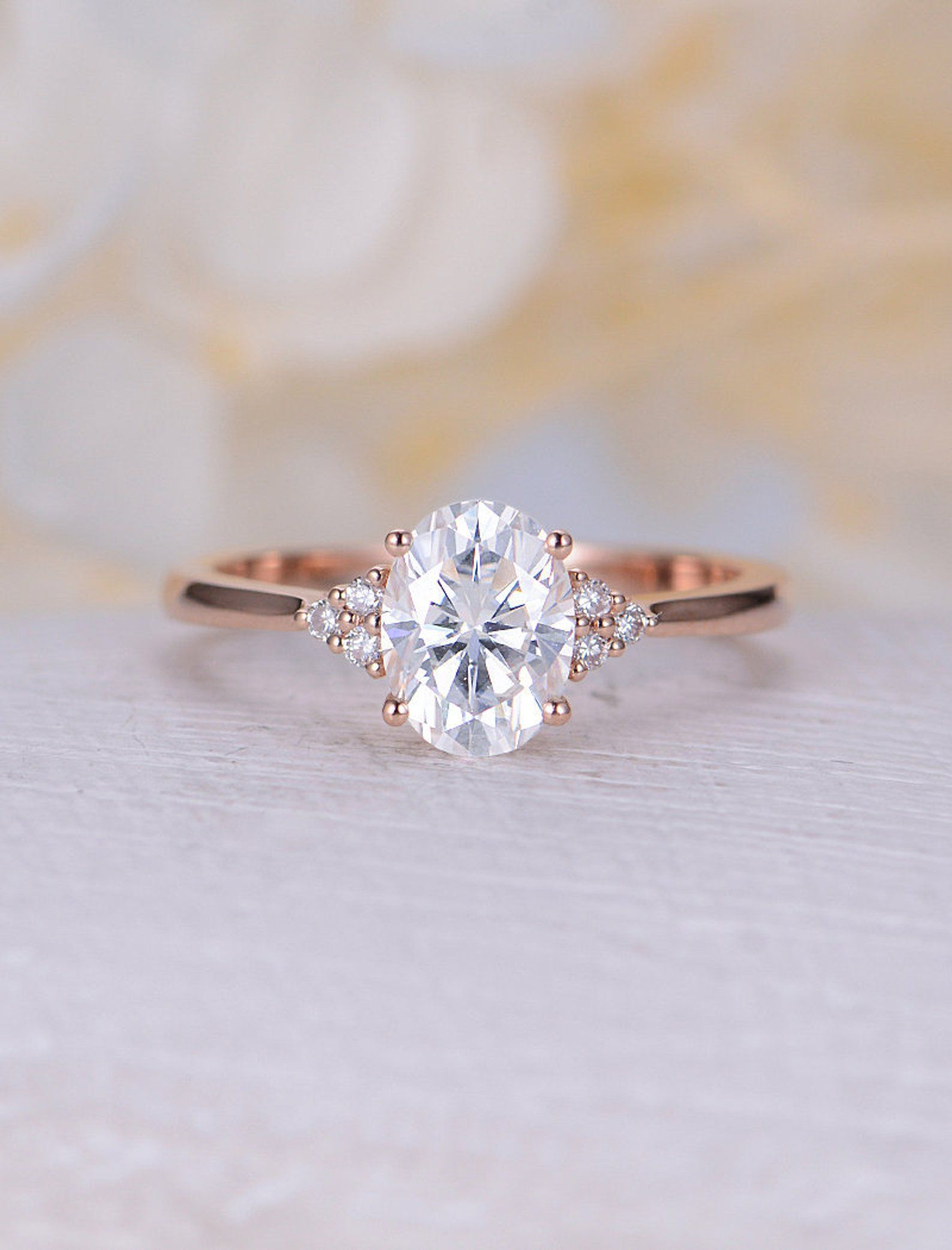 Vintage Moissanite Engagement Ring Rose Gold Engagement Ring Etsy Gold Oval Engagement Ring Rose Gold Engagement Ring Vintage Rose Gold Oval Engagement Ring