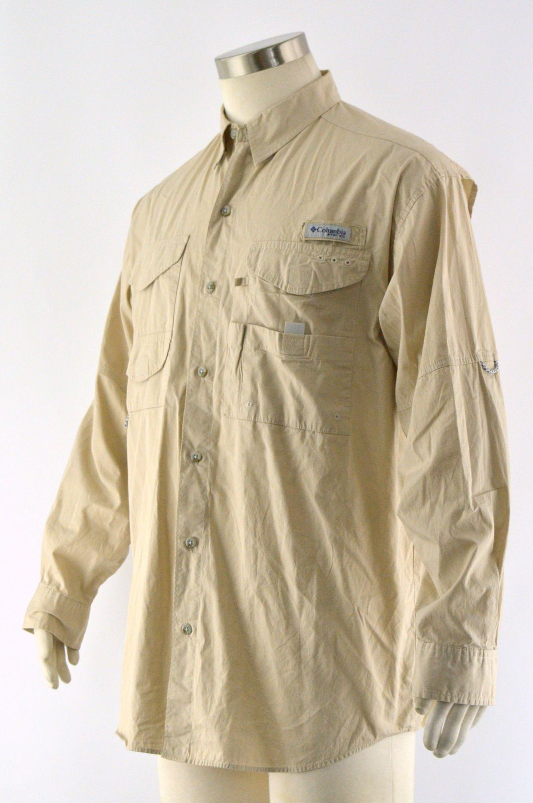 Columbia mens tan 100 cotton button front pfg vented for Columbia cotton fishing shirt
