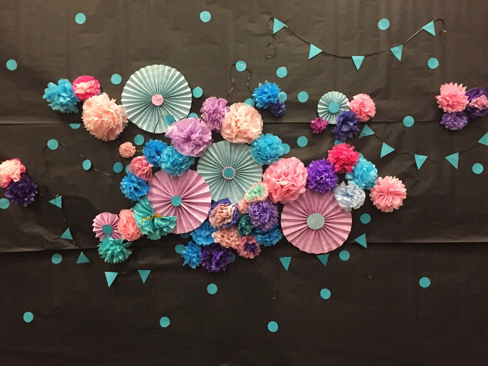 DIY Photo booth backdrop for LDS dance with paper pinwheels