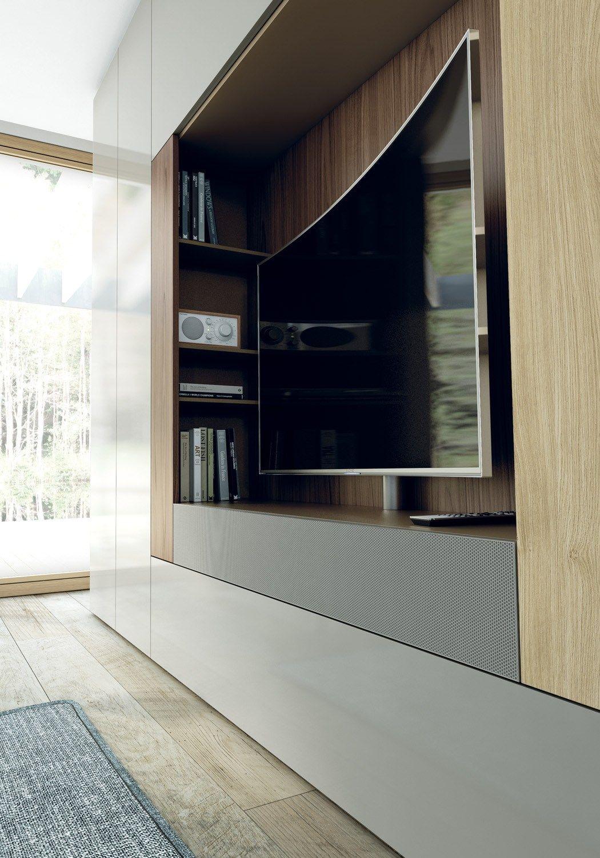 Roomy Mueble Modular De Pared Con Soporte Para Tv By Caccaro  # Mueble Soporte Tv Diseno