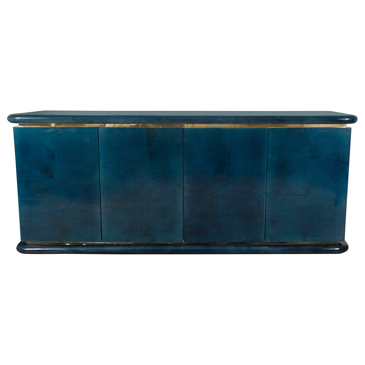 "Blue lacquered goatskin sideboard | Sideboards | John Salibello Origin: United States Circa: 1960 Dimensions: 72"" wide x 20"" deep x 30.5"" high"