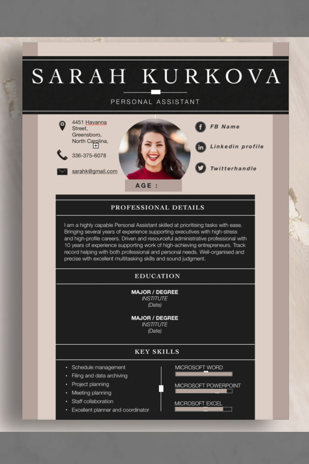 """Resume Template. """"Neutral"""".Instant Download.Word.Pages"""