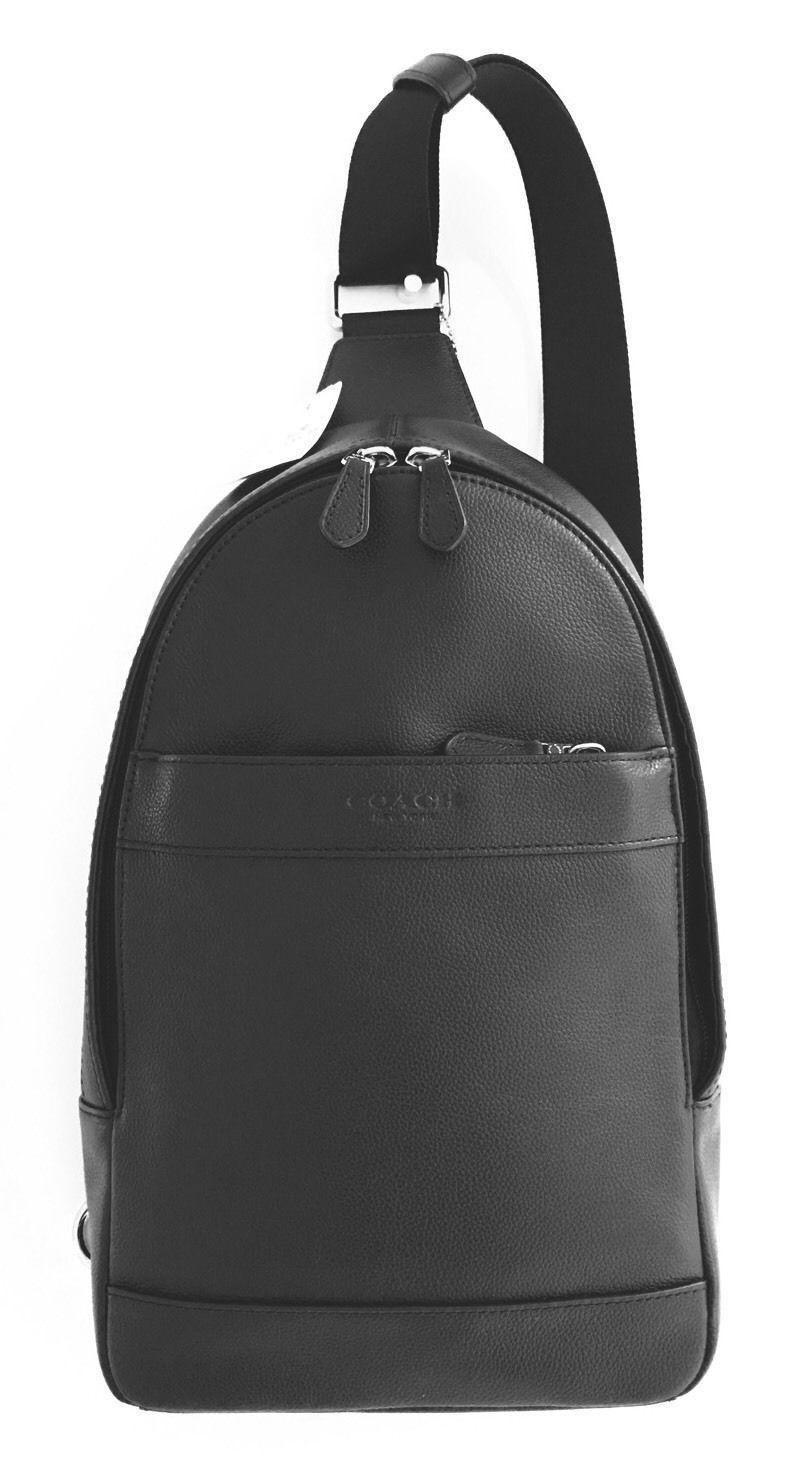 Coach Mens Leather Shoulder Crossbody Bag Charles Pack Backpack Black F54770 4819be10abf11