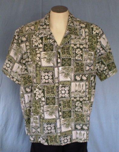 Koko Head Green XL Reverse Print Hawaiian Shirt Floral Palm Trees Boats Cotton #KokoHead #Hawaiian