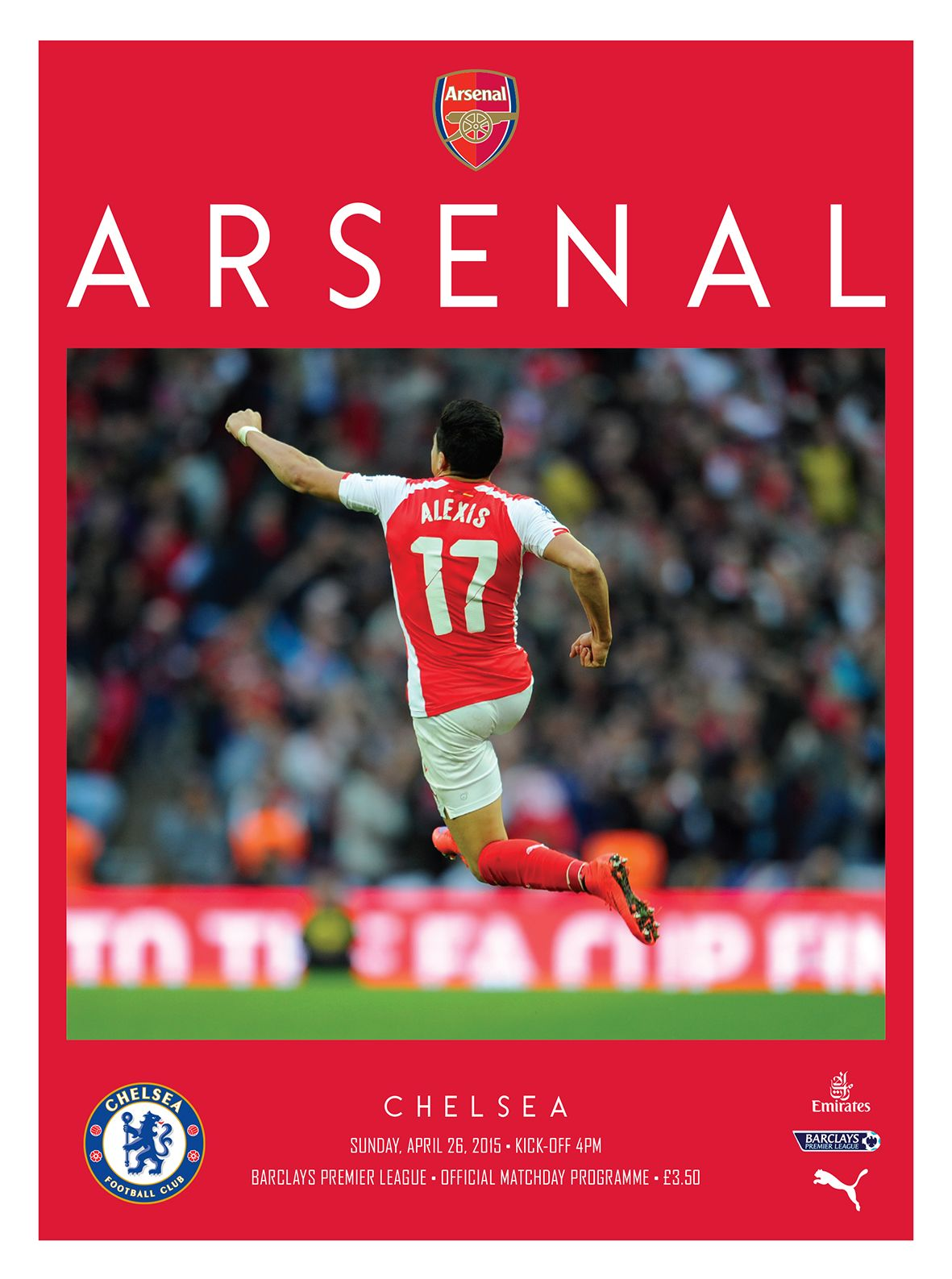 v Chelsea. April 26, 2015. The official Arsenal Matchday