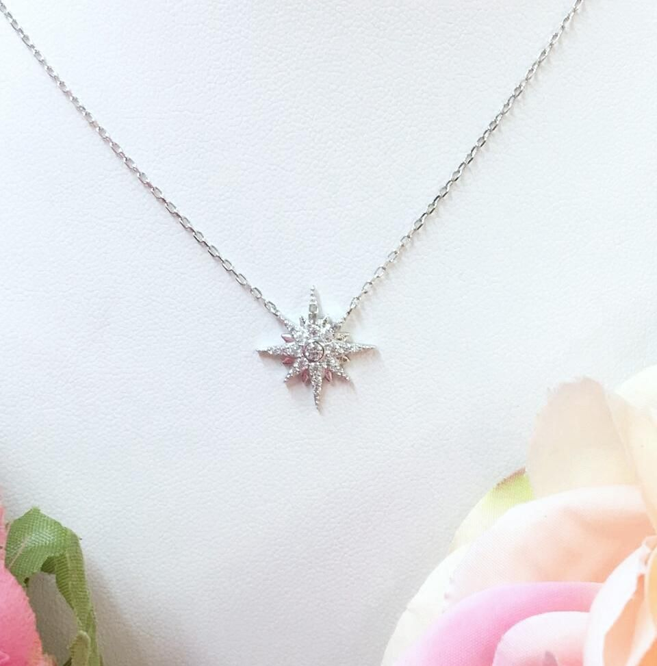 925 sterling silver star pendant necklace 16 aloadofball Image collections