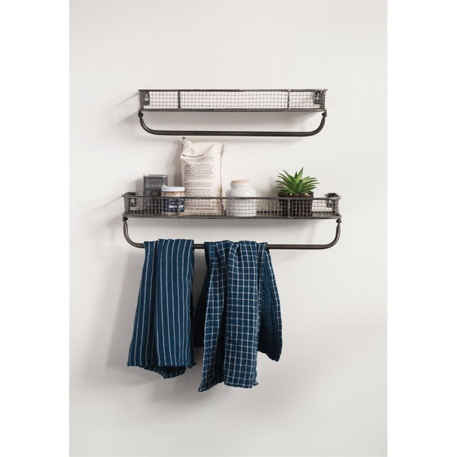 Industrial Grid Shelves Set Of 2 Metal Wall Shelves Bathroom