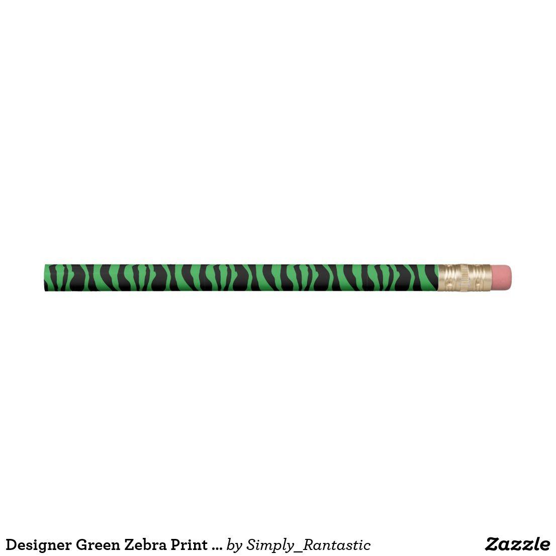 Designer Green Zebra Print Pencils