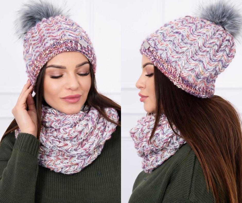 abb7dbceb Krásna fialovo-sivá čiapka a šál na zimu, pletený kúsok, ktorý musíš mať.