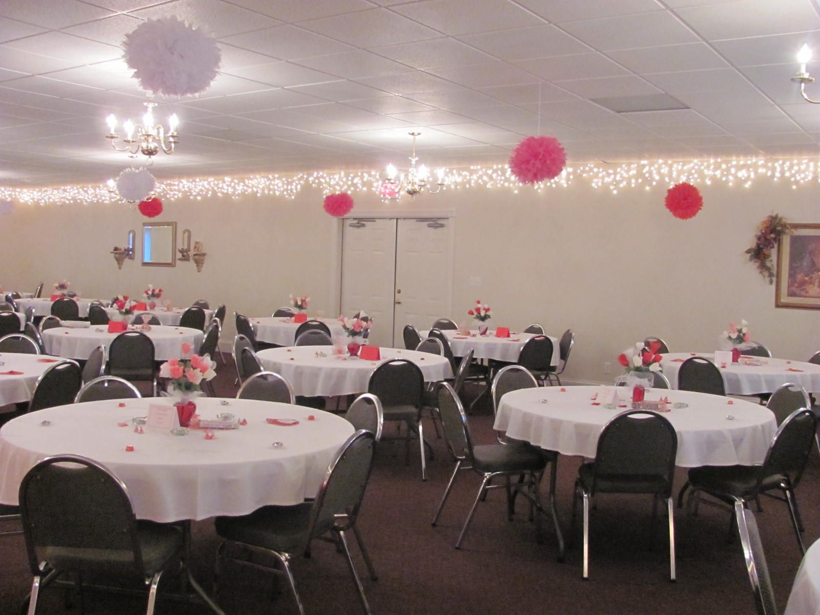 Valentine party ideas for church - Pom Poms I Used At A Valentines Banquet Church Decorationsbanquet Ideasvalentine Party50th