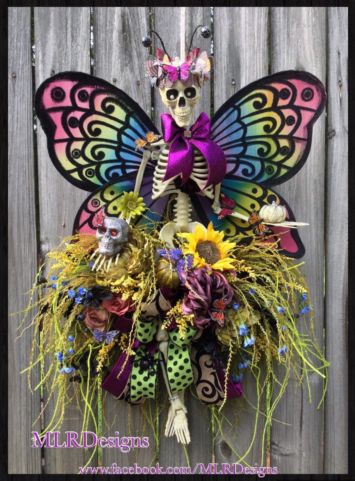 Photo of Halloween-Kranz, Tag des toten Kranzes, Skelettkranz, Herbstkranz, wunderlicher Herbstkranz, einzigartiges Halloween-Dekor, OOAK-Kranz