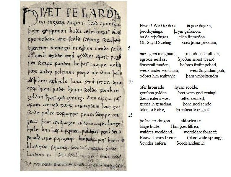 The beginning of the epic poem Beowulf, with original old English ...