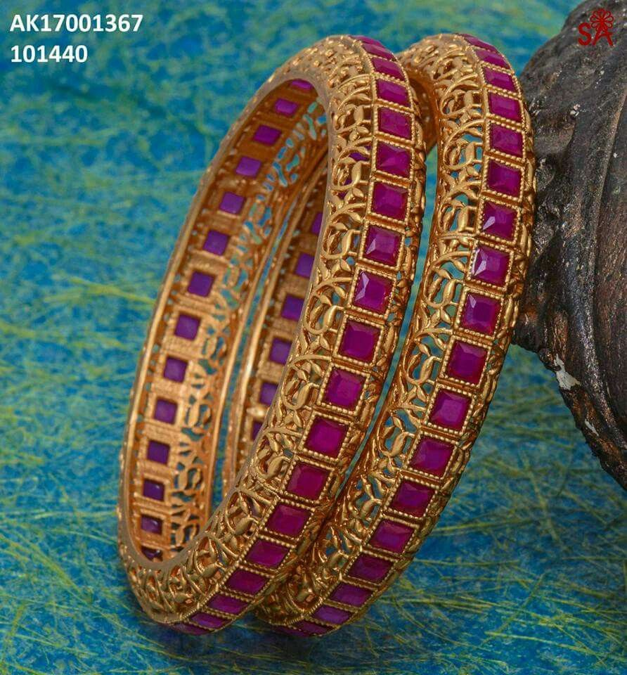 Gold ruby jaraoo kangan bangles jewellery pinterest bangle