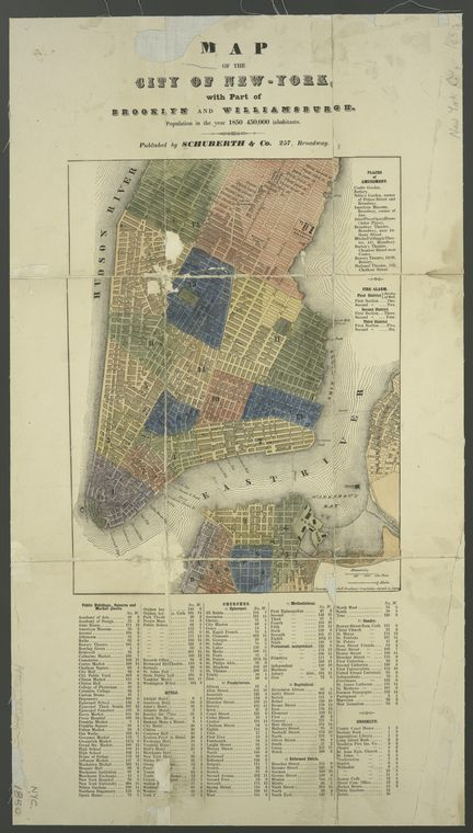 Map Of New York 1850.Ward Map 1850 Bowery Maps New York City Map New Amsterdam