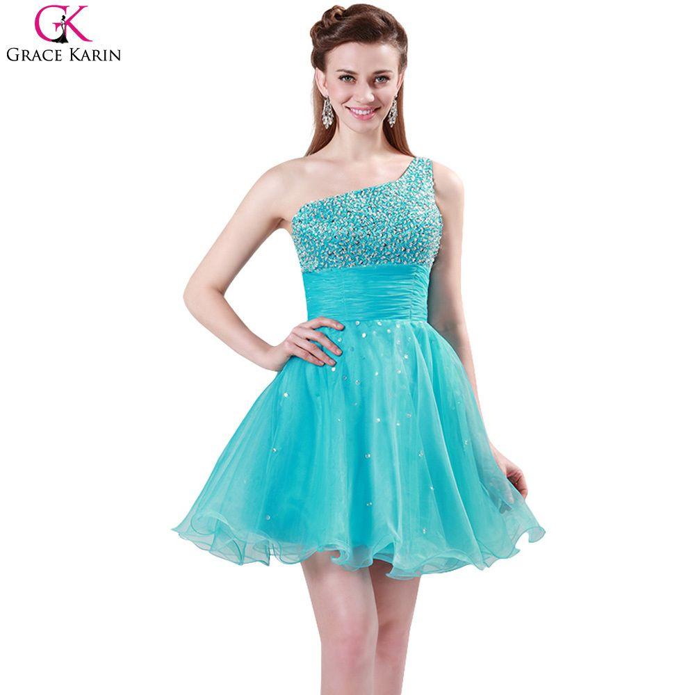 Prom Dresses Grace Karin One Shoulder Formal Gowns Beading Sequin