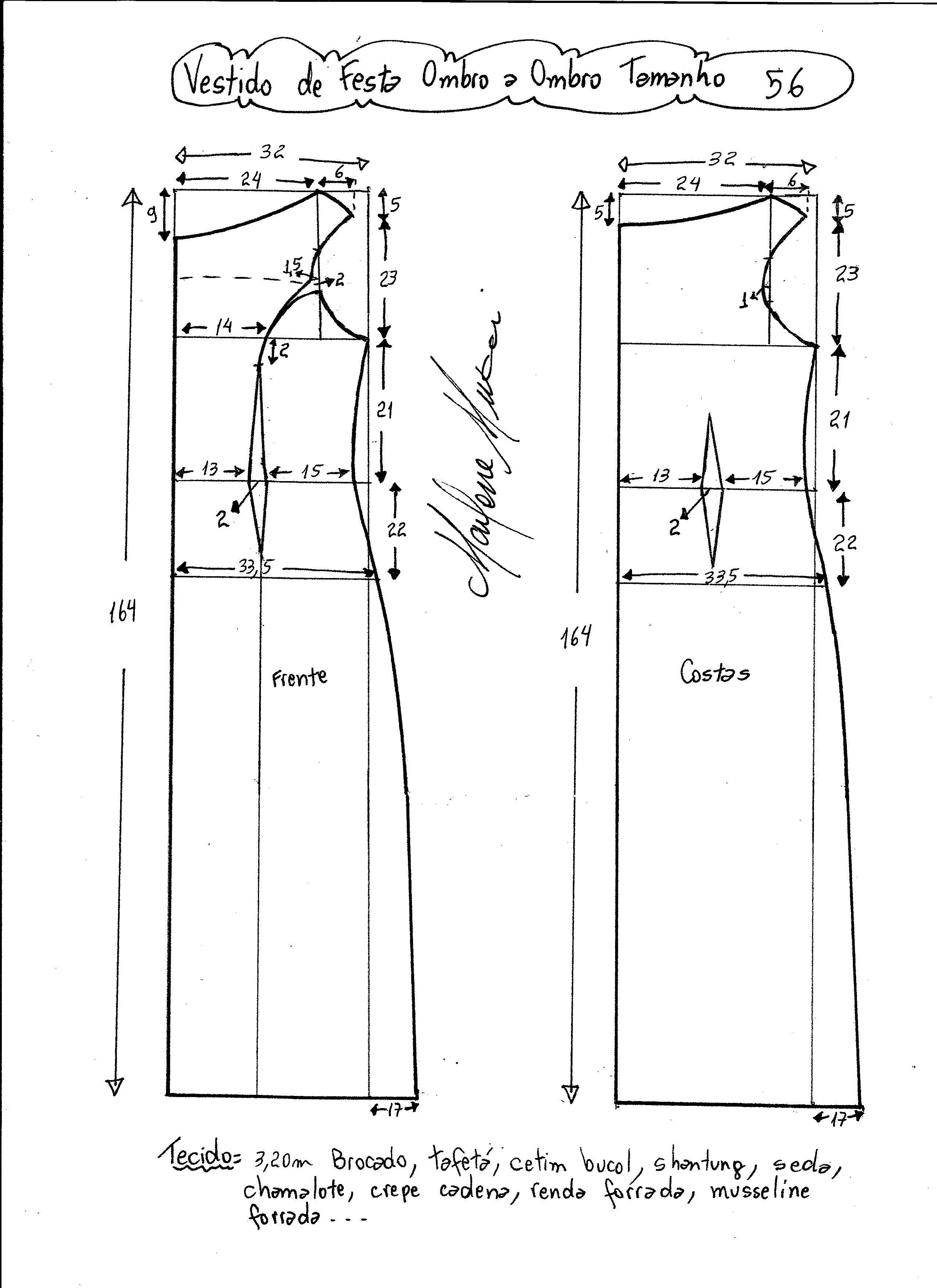 Vestido de festa ombro a ombro simples | Costura, Molde y Patrones