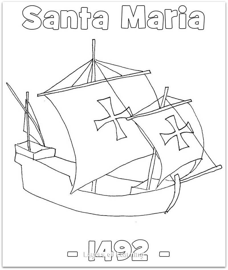 the santa maria coloring sheet. this was christopher columbus ... - Christopher Columbus Coloring Page