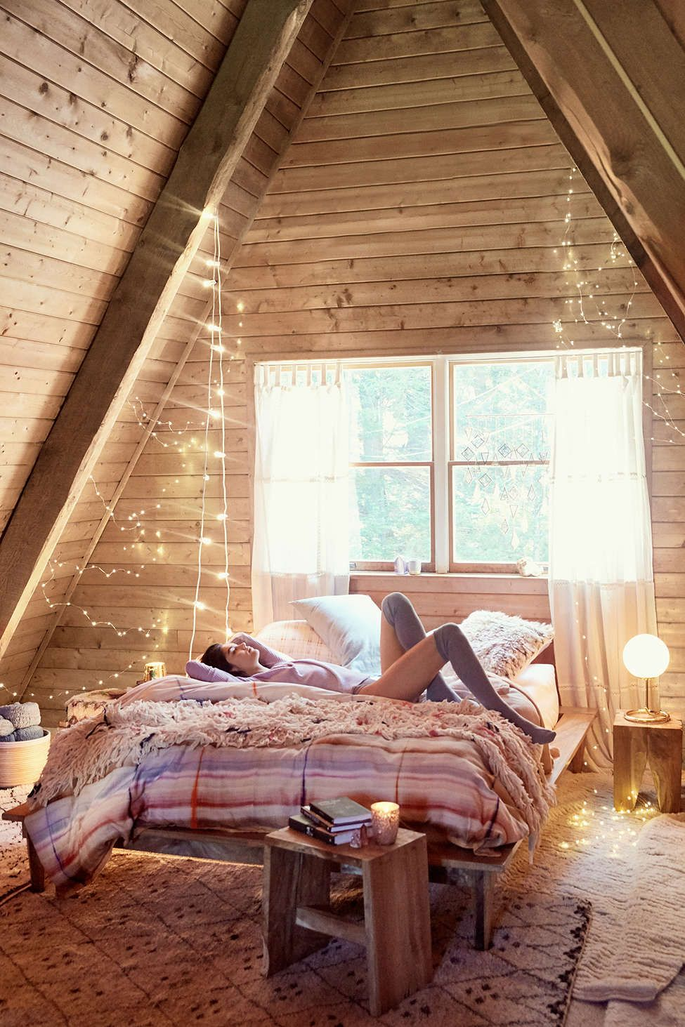 Solid Sheet Set Home Inspiration Attic Bedroom Decor