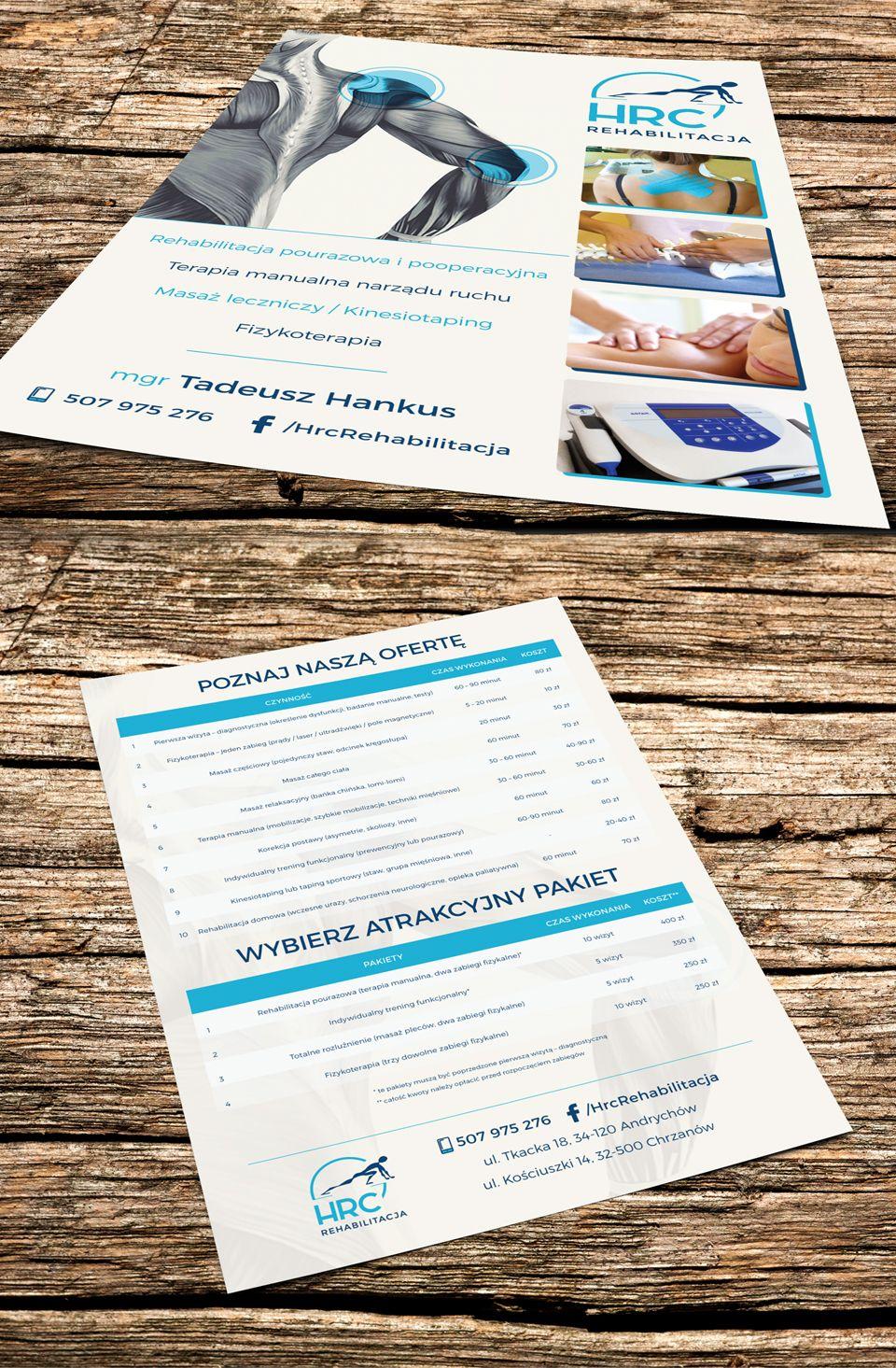leaflet design, physiotherapy, rehabilitation, massage