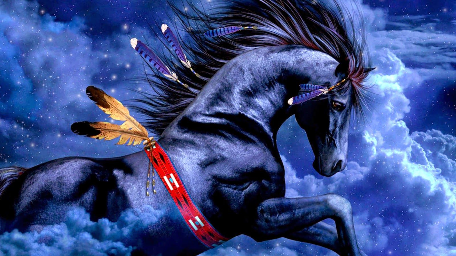 Blue Horse 3d Wallpapers Hd O Native American Horses Horse Wallpaper Indian Horses