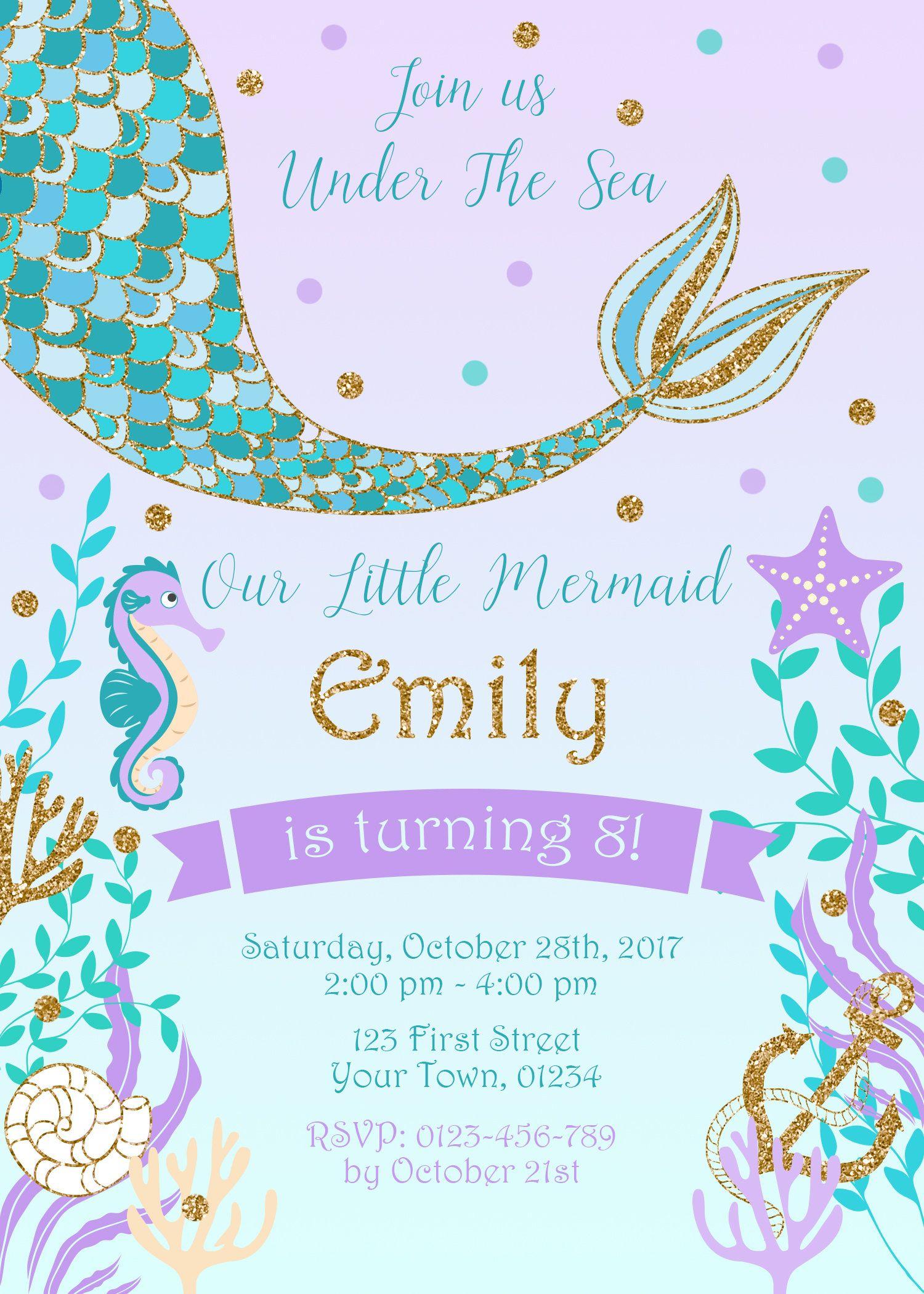 Mermaid Tail Birthday Party Invitation