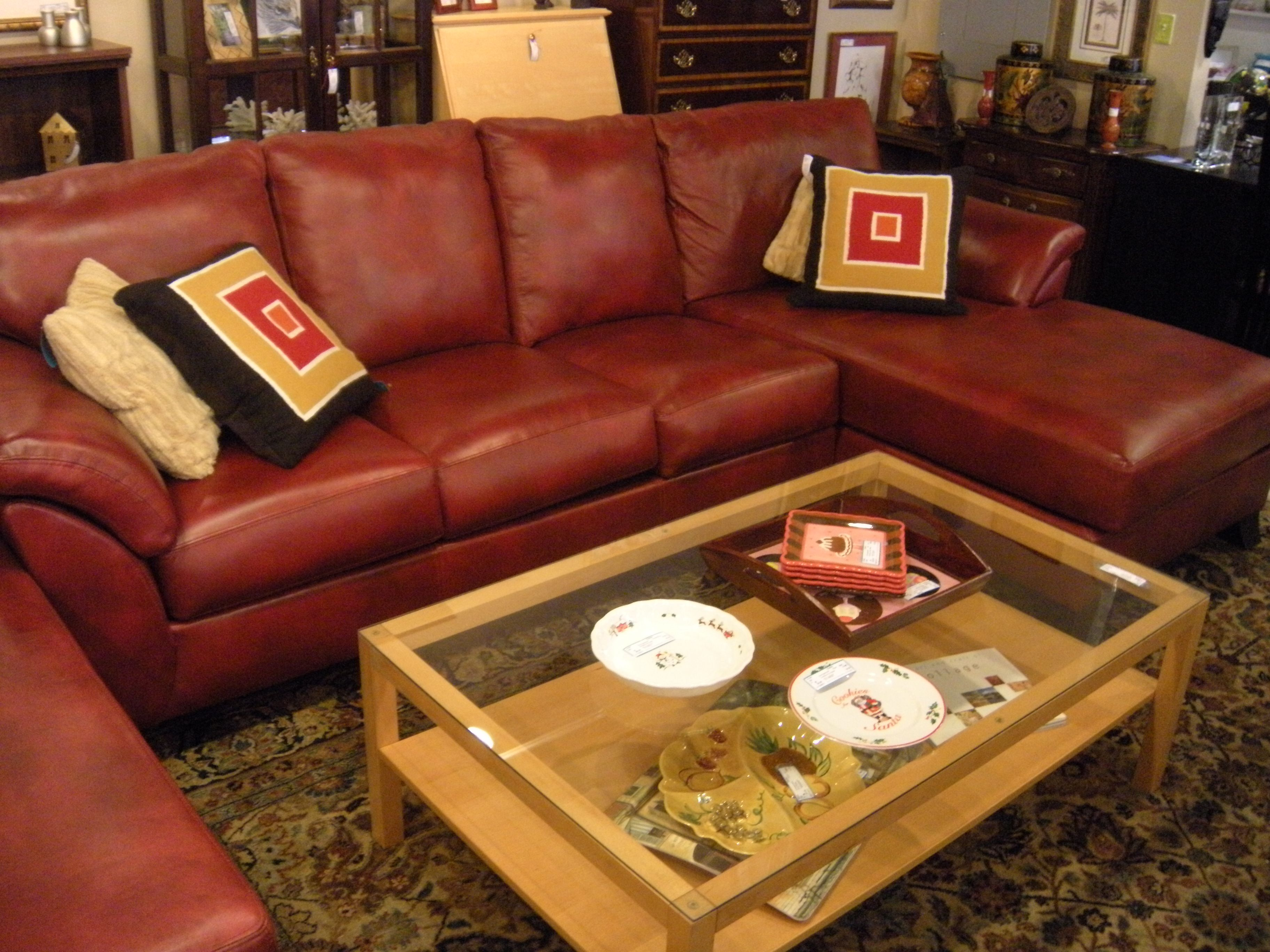 amazing red leather sectional!