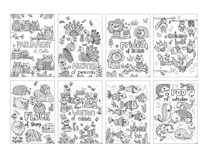 20 Colouring in Sheets Animals with Pattern Printable